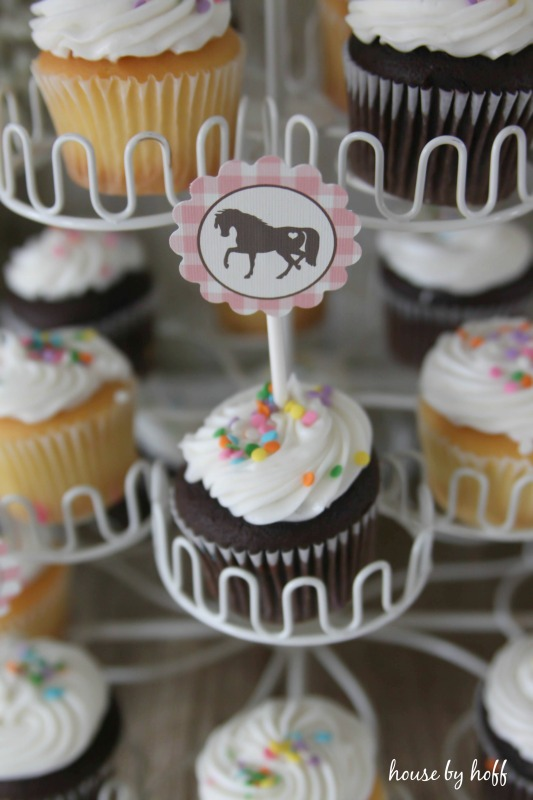 Cupcakes with horse picture on it.