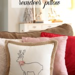 Stenciled Reindeer Pillow