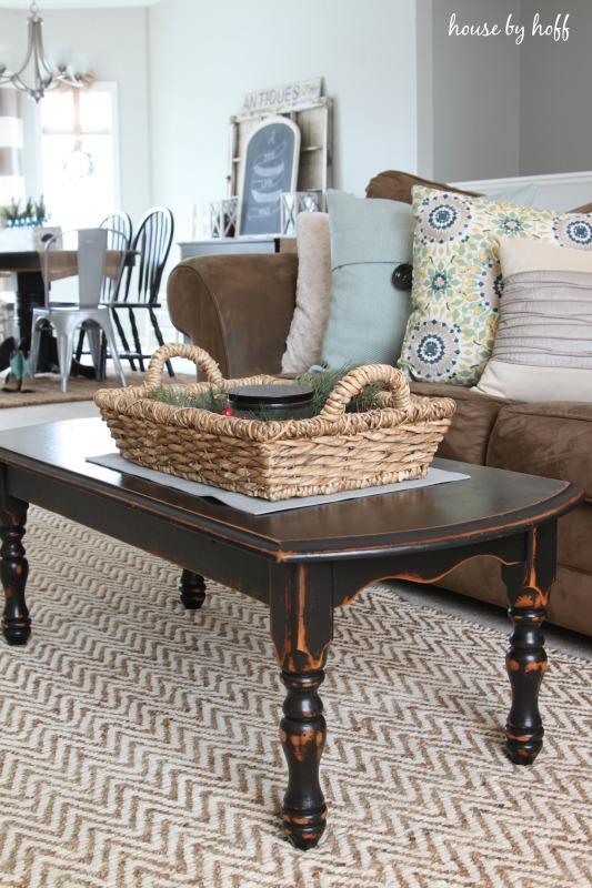 A herringbone rug in the living room.