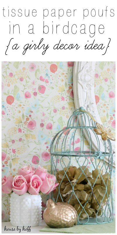 Tissue Paper Poufs in a Birdcage via House by Hoff