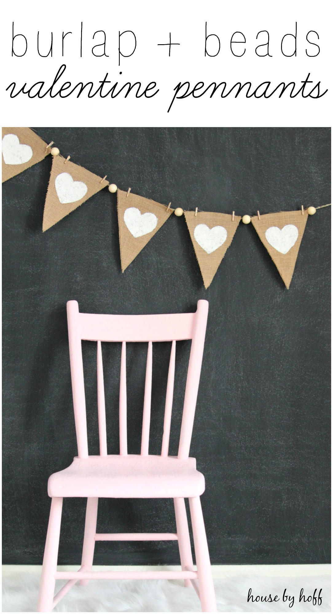 Burlap and Beads Valentine Pennants