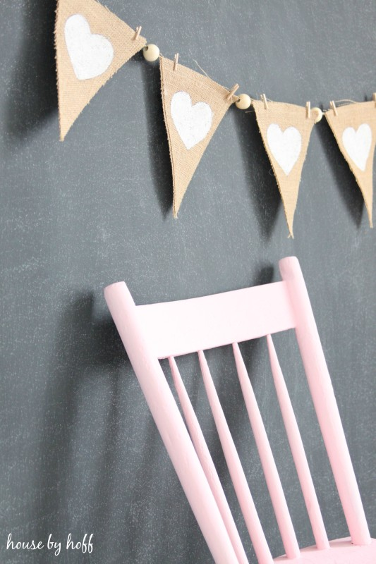 Burlap and Beads Valentine Pennants via House by Hoff