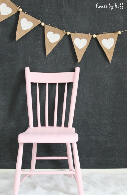 Burlap and Beads Valentine Pennants via House b Hoff