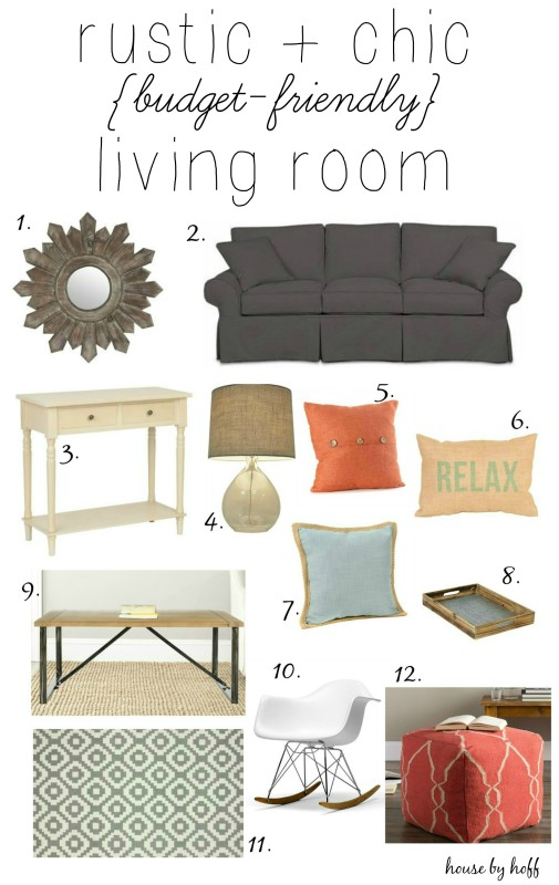 Rustic & Chic Budget Friendly Living Room Inspiration via House by Hoff