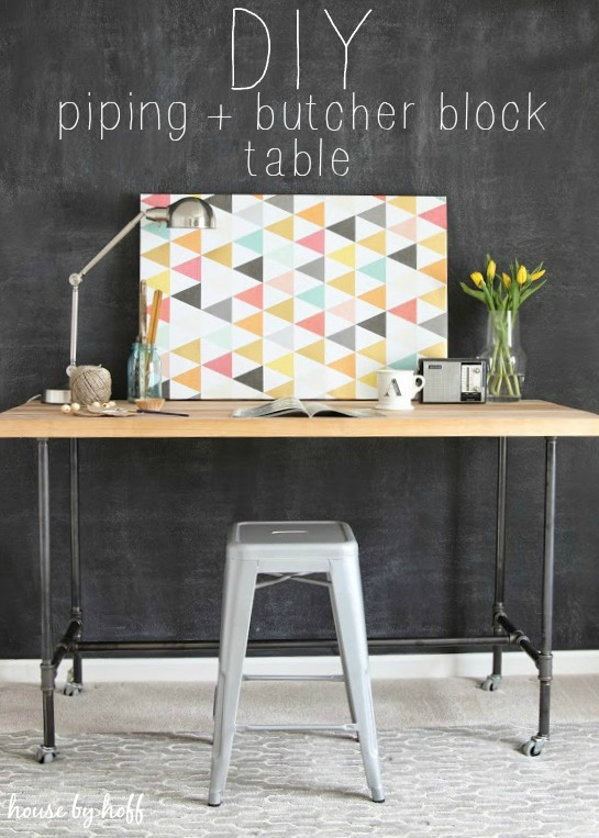 DIY Piping and Butcher Block Table via House by Hoff
