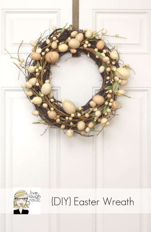 Fabulous Easter Wreath with Easter eggs on a twig wreath.