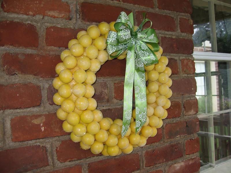 A wreath made of lemons.