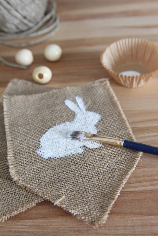 Burlap and Beads Easter Bunny Garland via House by Hoff