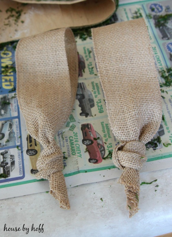 Moss and Burlap Easter Bunny Wreath via House by Hoff