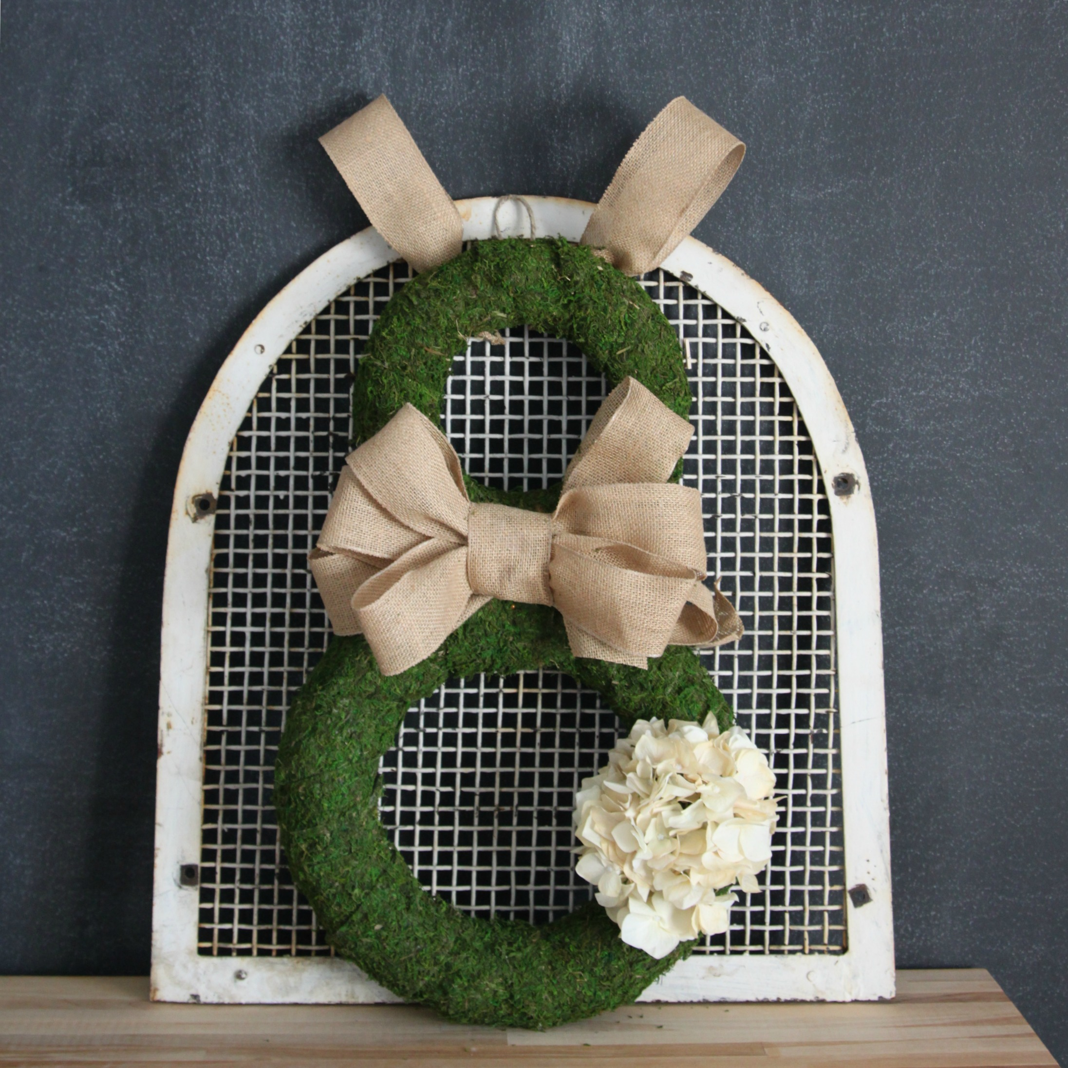 Burlap and Moss Easter Bunny Wreath