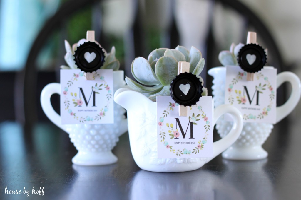 Milk Glass + Succulent Mother's Day Gift Idea via House by Hoff