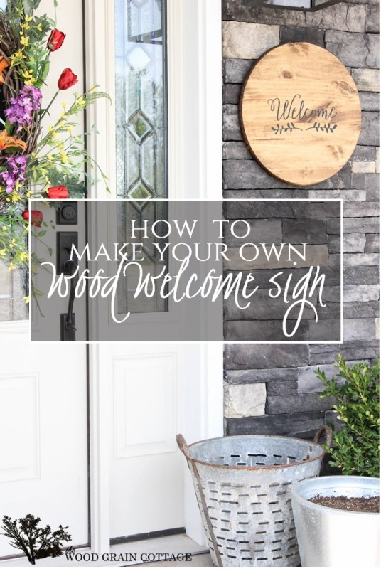 Wood Welcom Sign. Perfect for your front porch or patio! Full tutorial by The Wood Grain Cottage-18 (2)