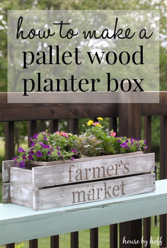 A pallet wooden planter box on sun deck.