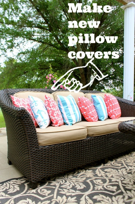 Multicoloured pillows on an outside couch.