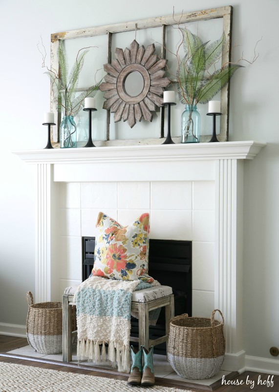 Ideas For Decorating With Old Windows: Old Window Frame Mantel