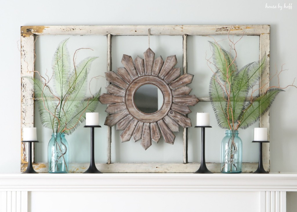 Ideas for decorating with old windows old window frame mantel house by hoff - Designs in glasses for house decoration ...
