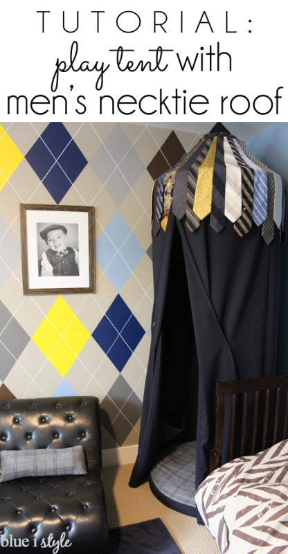 Play tent made out of mens neckties.
