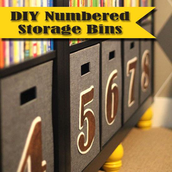 Storage bins with numbers.