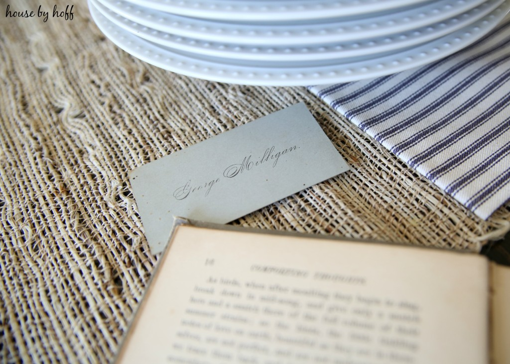 Antique book and paper place cards.