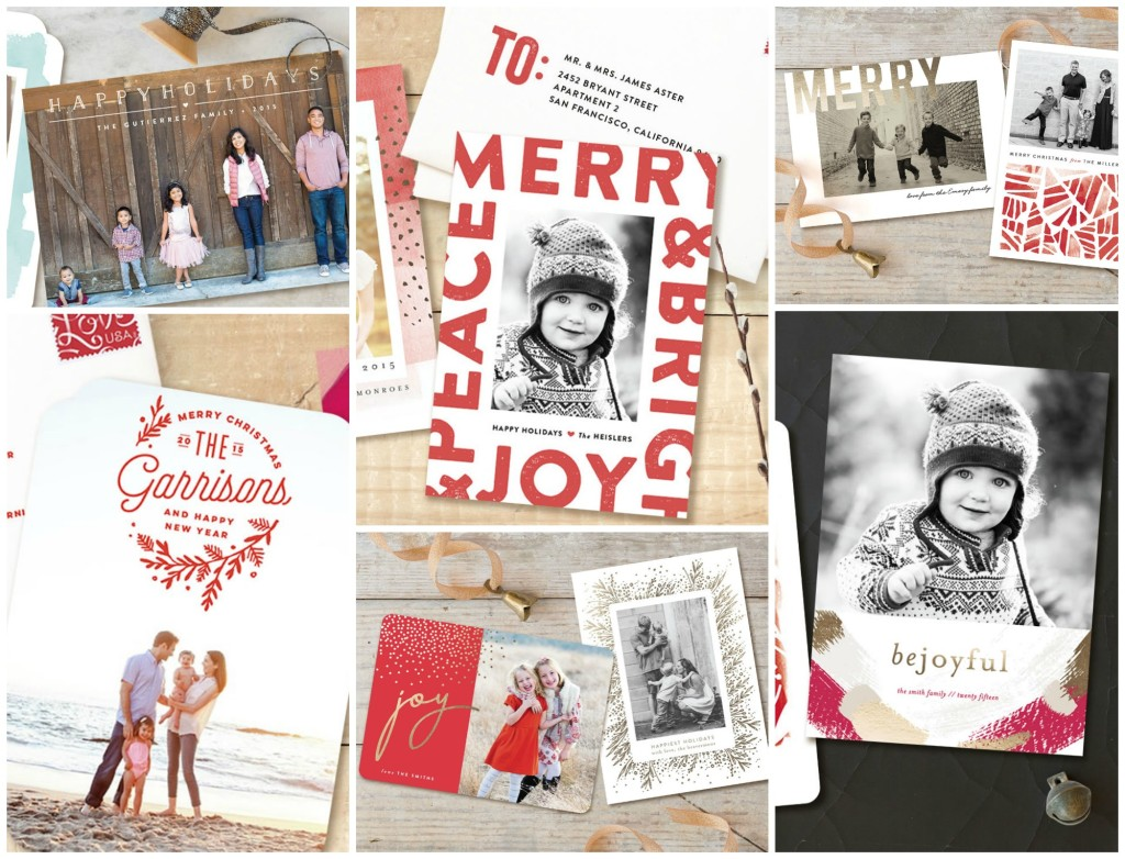 A montage of holiday cards featuring families and kids.