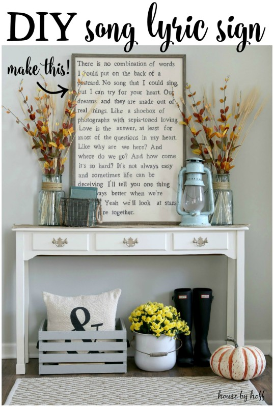 DIY Song Lyric Sign | Timeless Rustic Decor For Fall
