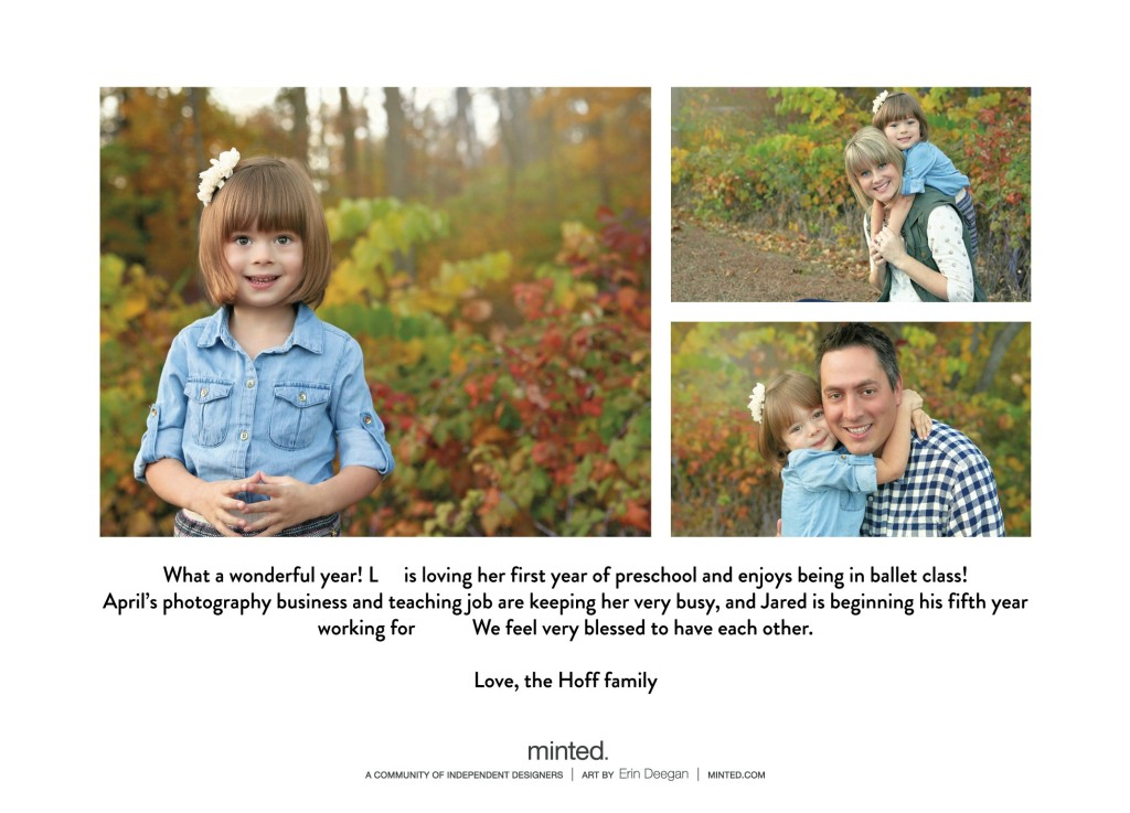 Three pictures one of a little girl by herself and one with the mom and one with the dad.