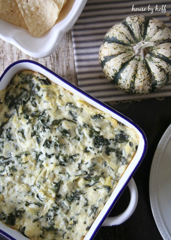 The baked spinach dip on the counter.