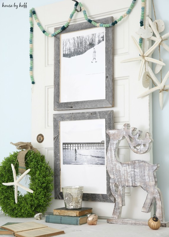 Beachy Holiday Desk with Photography Mounted to Old Door via House by Hoff