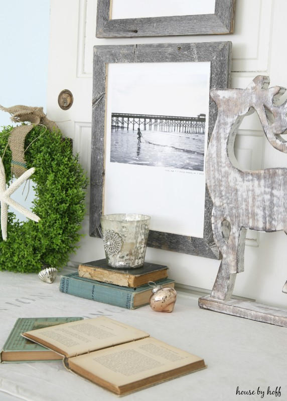 Beachy Holiday Desk with Photography Mounted to Old Door via House by Hoff3