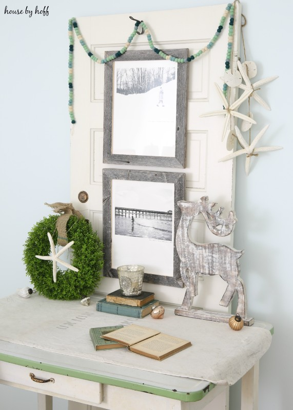 Beachy Holiday Desk with Photography Mounted to Old Door via House by Hoff6