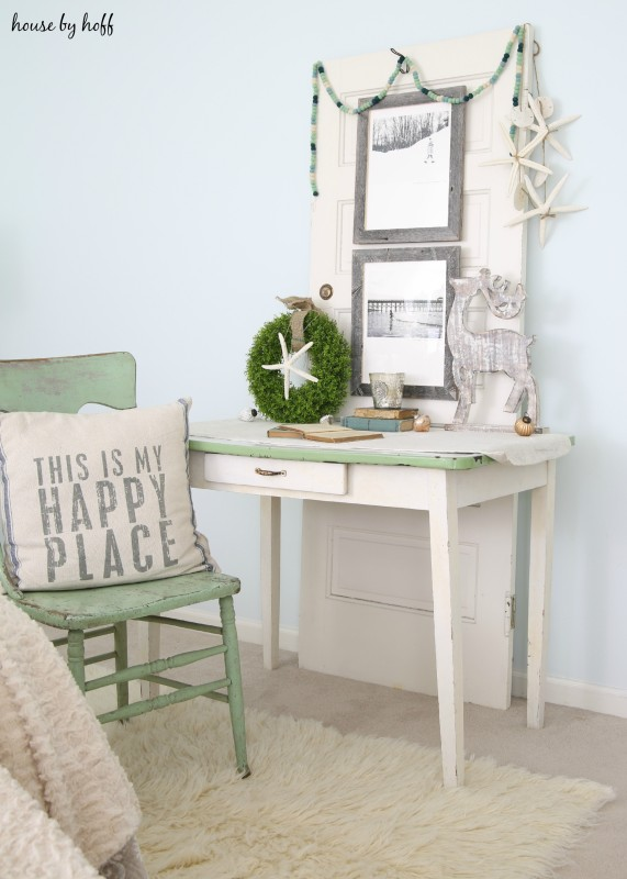 Beachy Holiday Desk with Photography Mounted to Old Door via House by Hoff7