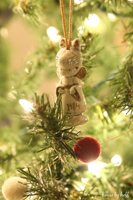 A Christmas ornament angel with 1984 on it.