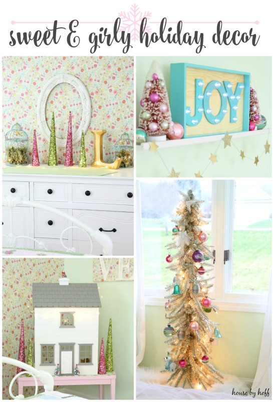 Sweet and girly holiday decor poster.