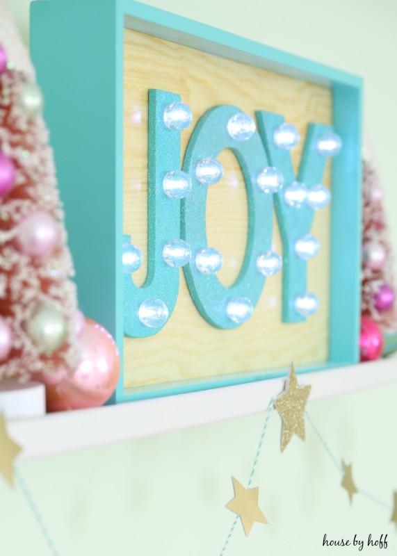 Close up of the sign that says joy.