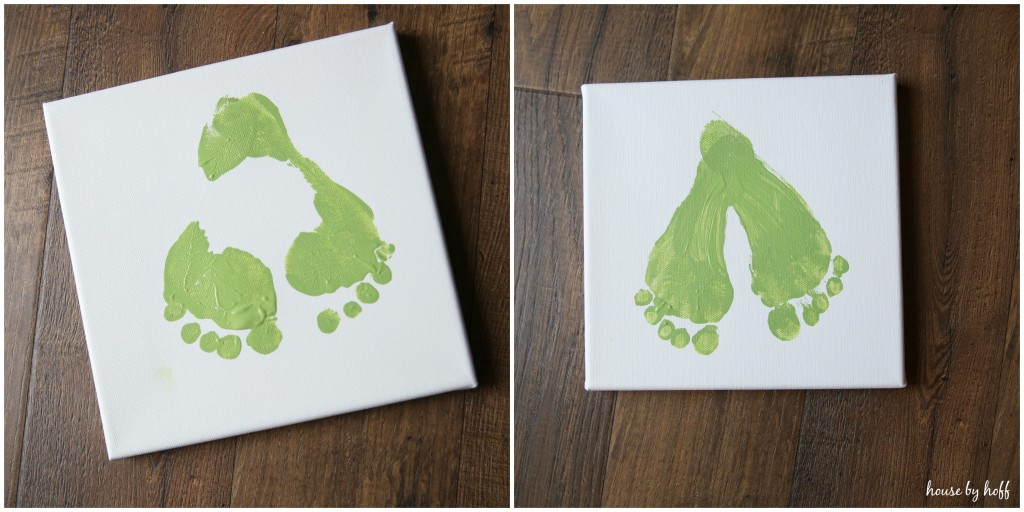 The green footprints on the canvas.