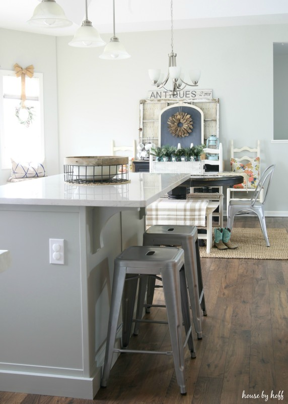 Gray and White Kitchen Island with Quartz Countertops via House by Hoff9