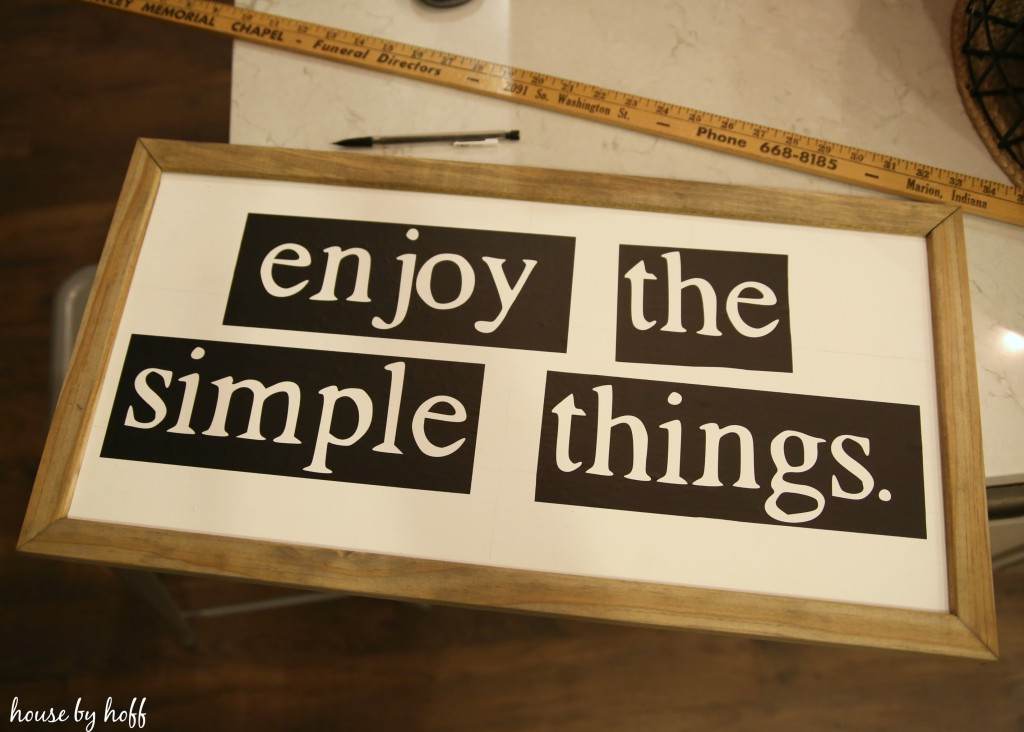 DIY Enjoy the Simple Things Sign via House by Hoff