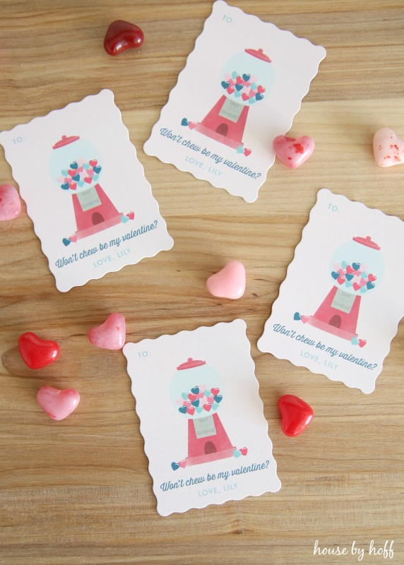 Went you be my Valentine on the card with four of them on the table.