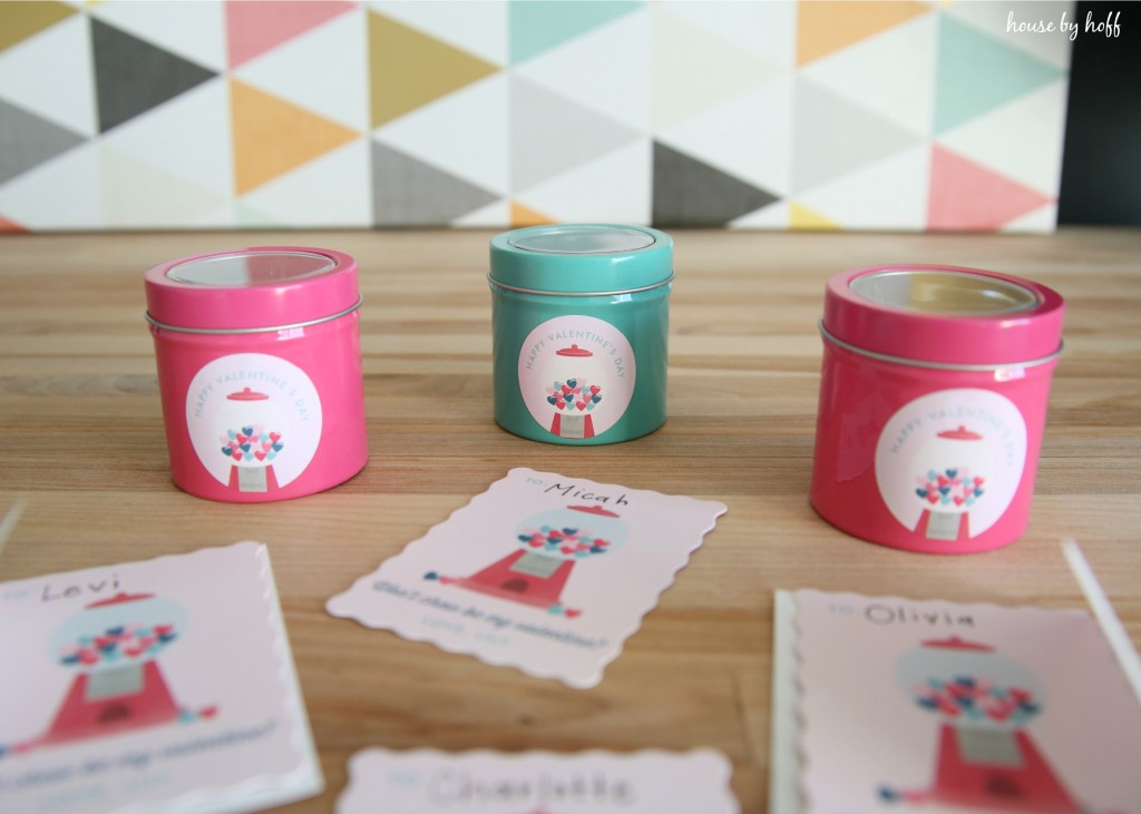Printed Minted tins with the Valentine's logo on the front of it.