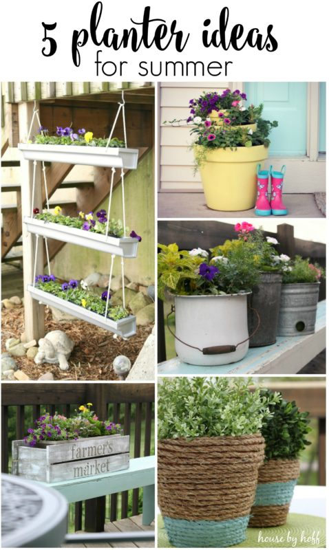 A collage of all 5 planters with flowers in them.