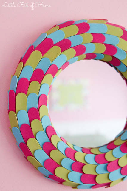 popsicle stick mosaic mirror 2