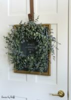 Garage Sale Upcycle:  A Chalkboard Backdrop for a Wreath