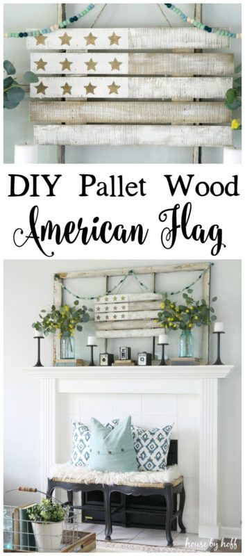 The pallet wood American flag hanging above mantel.