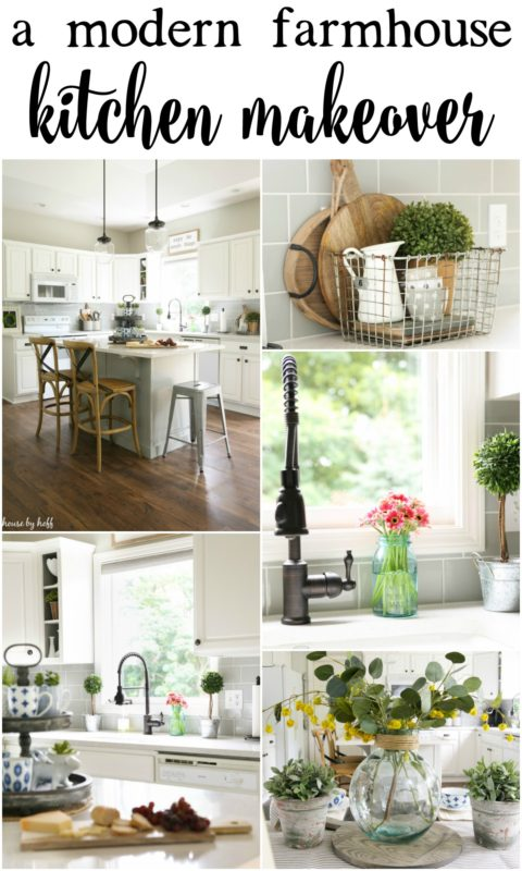 The poster for a modern farmhouse kitchen makeover.