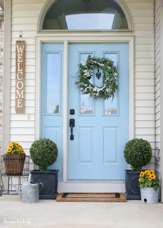 Baby blue front door.