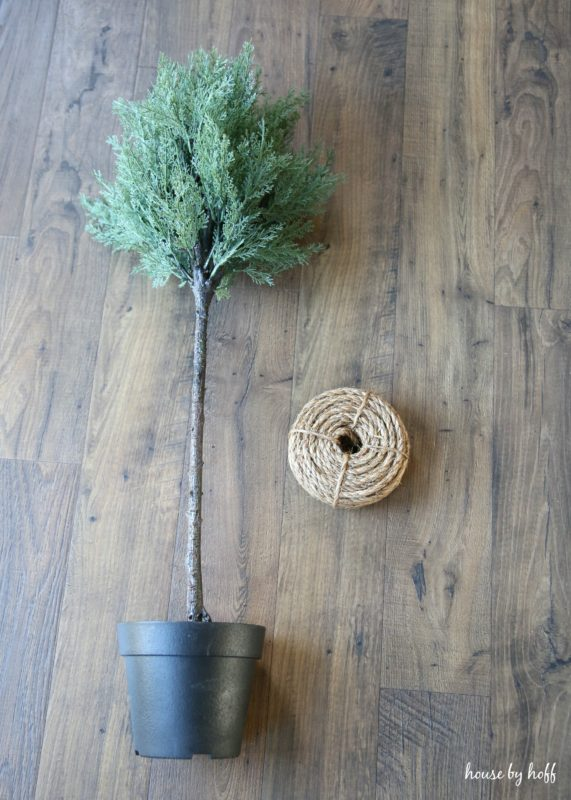 Rope Wrapped Ikea Topiaries