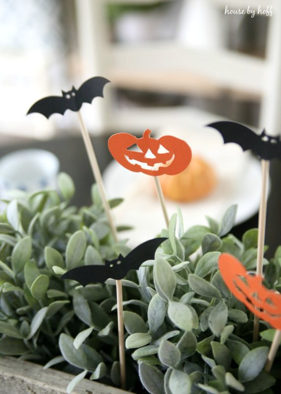 Bats and pumpkins in the succulents on the table.