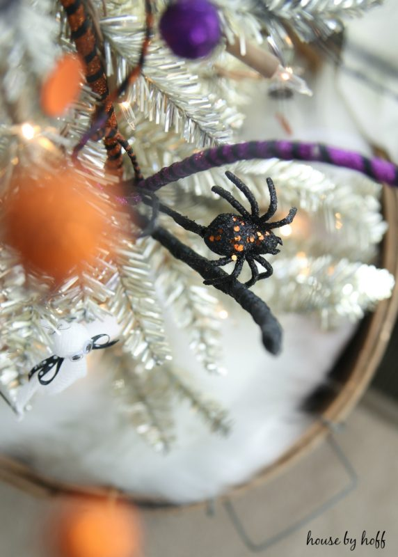 Black spider on the Halloween tree.