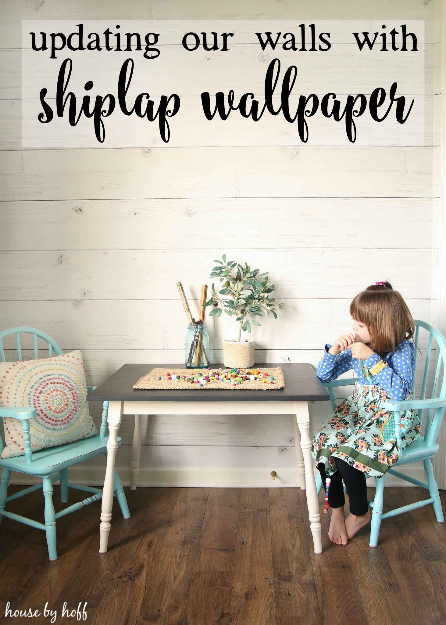 Updating Our Walls With Shiplap Wallpaper House By Hoff