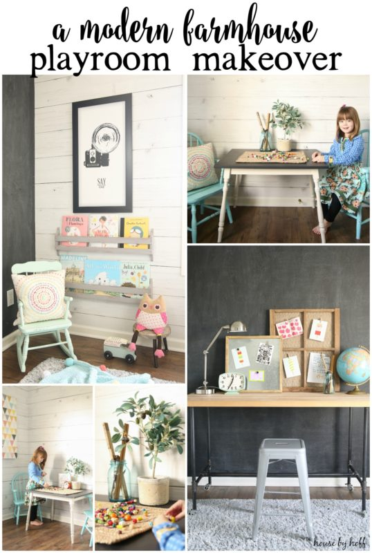 A modern farmhouse playroom makeover poster.